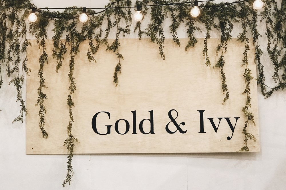 Gold & Ivy booth sign from Pinners Conference in Atlanta GA