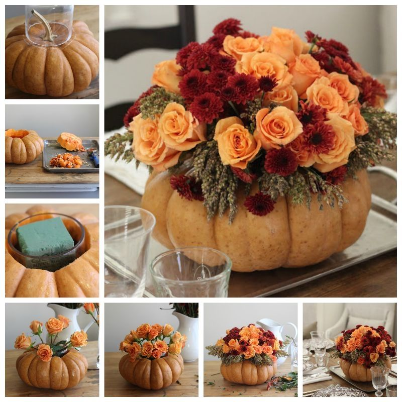Flower arrangements tend to get very expensive around the Holidays so here is how you can make your own! Simply buy a pumpkin and cut a hole in the middle big enough for a glass or vase that you have at home. You can put real or fake flowers in the middle.  Real Flowers: place the class in the pumpkin and fill halfway with water then cut stems to appropriate height and place inside glass  Fake Flowers: simply follow the instructions in the picture