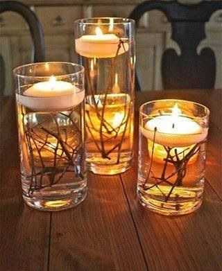 Candles help set a comfortable mood and you won't believe how easy these are to make. If you don't have any extra glasses or vases lying around, grab some from your local dollar store. Next, simply go outside and find some twigs or small tree branches. Next, cut the twigs to fit in the vase but leave enough room for the floating water candles. Fill the vase with water, covering the twigs, and place a floating candle in the top.