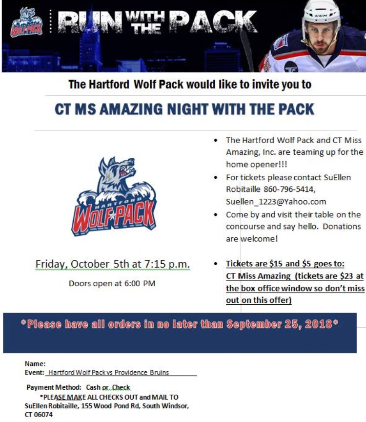Hartford Wolf Pack Meet and Greet! - Come out on Oct 5, 2018 at 7:15pm to start the hockey season off right by supporting your CT Miss Amazing!