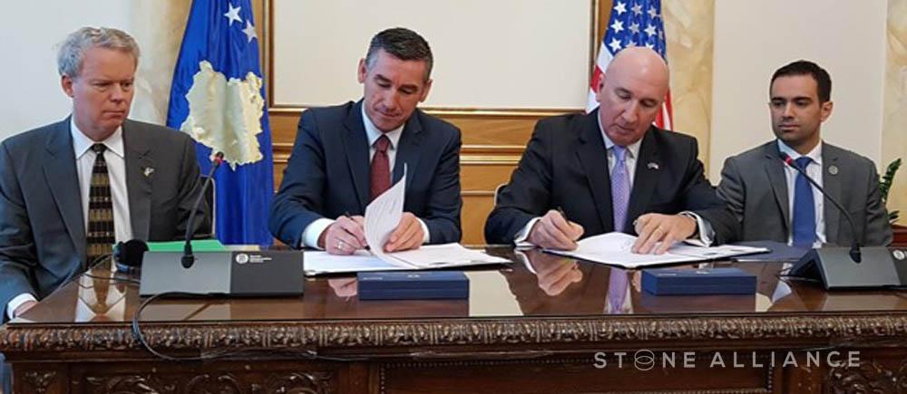 Stone Alliance MoU Signing Ceremony, 4 October 2016.   (l-r: Ambassador G Delawie, Speaker K Veseli, Lt Gen M Barbero [Chairman], Mr A. Zeka [US Chamber of Commerce in Kosovo])