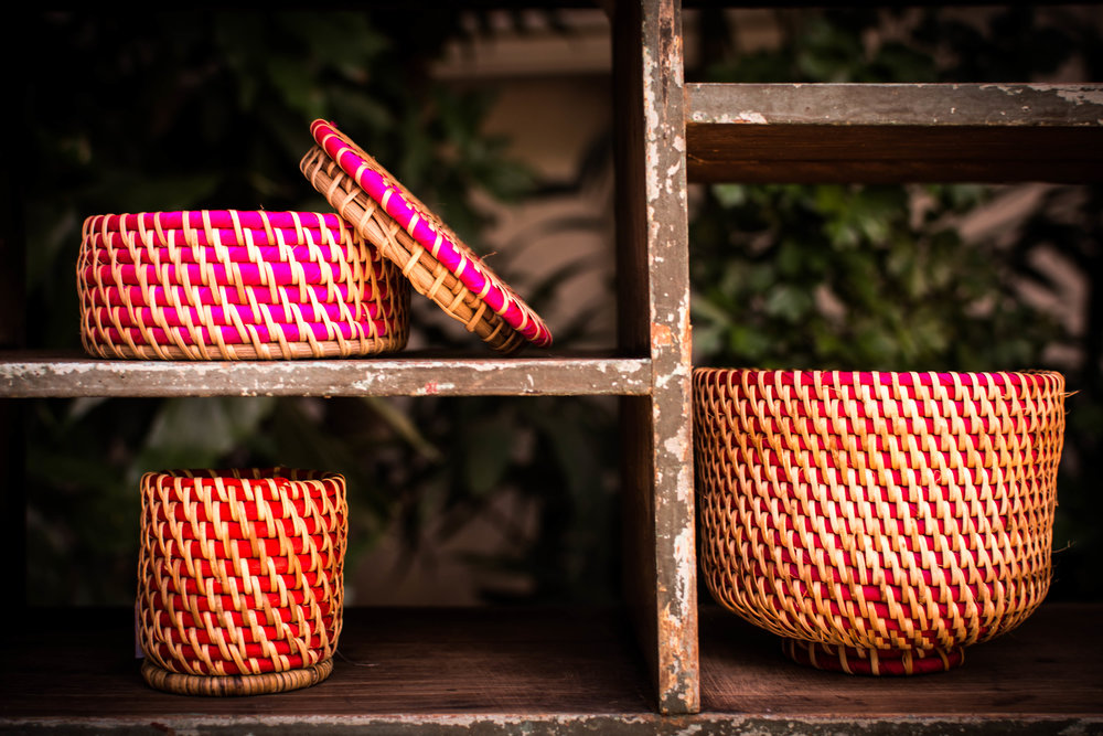 Hand Woven Rattan Baskets at Pomelo for Myanmar, Yangon. Fair trade crafts shop.