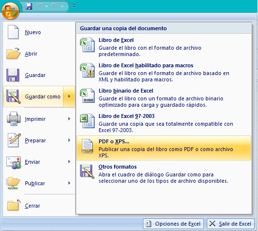 Office Compatible - Menú Office - Guardar como y verifique que exista la opción PDF y XPS.