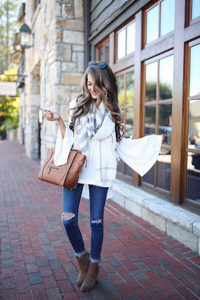 Free People bell sleeve top  (25% off!) //  AG jeans  // B.P. plaid scarf (sold out), similar  HERE    wedge booties  // Celine handbag, similar  HERE  //  Prada sunglasses    Michele watch  //  David Yurman bracelets  //  MAC liptensity lipstick