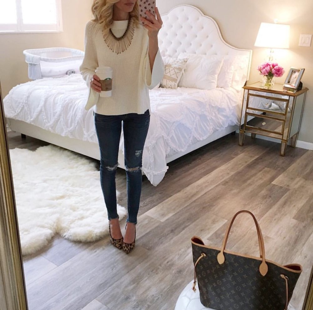Sweater:  BP  (sold out in white) also love   this  , Necklace:  Panacea  also love   this  , Jeans:  AG  , Leopard pumps: old similar   here  and   here