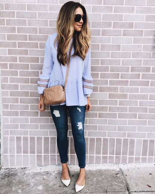 """CHICWISH  STRIPED TUNIC WITH BELL SLEEVES (""""ONE SIZE"""" FITS LIKE A MEDIUM) C/O // DENIM (FIT: TTS, ALSO WORN HERE & HERE) // VALENTINO FLATS (FIT: THESE RUN SNALL, I SUGGEST GOING UP A 1/2 SIZE) // BLACK SUNGLASSES"""