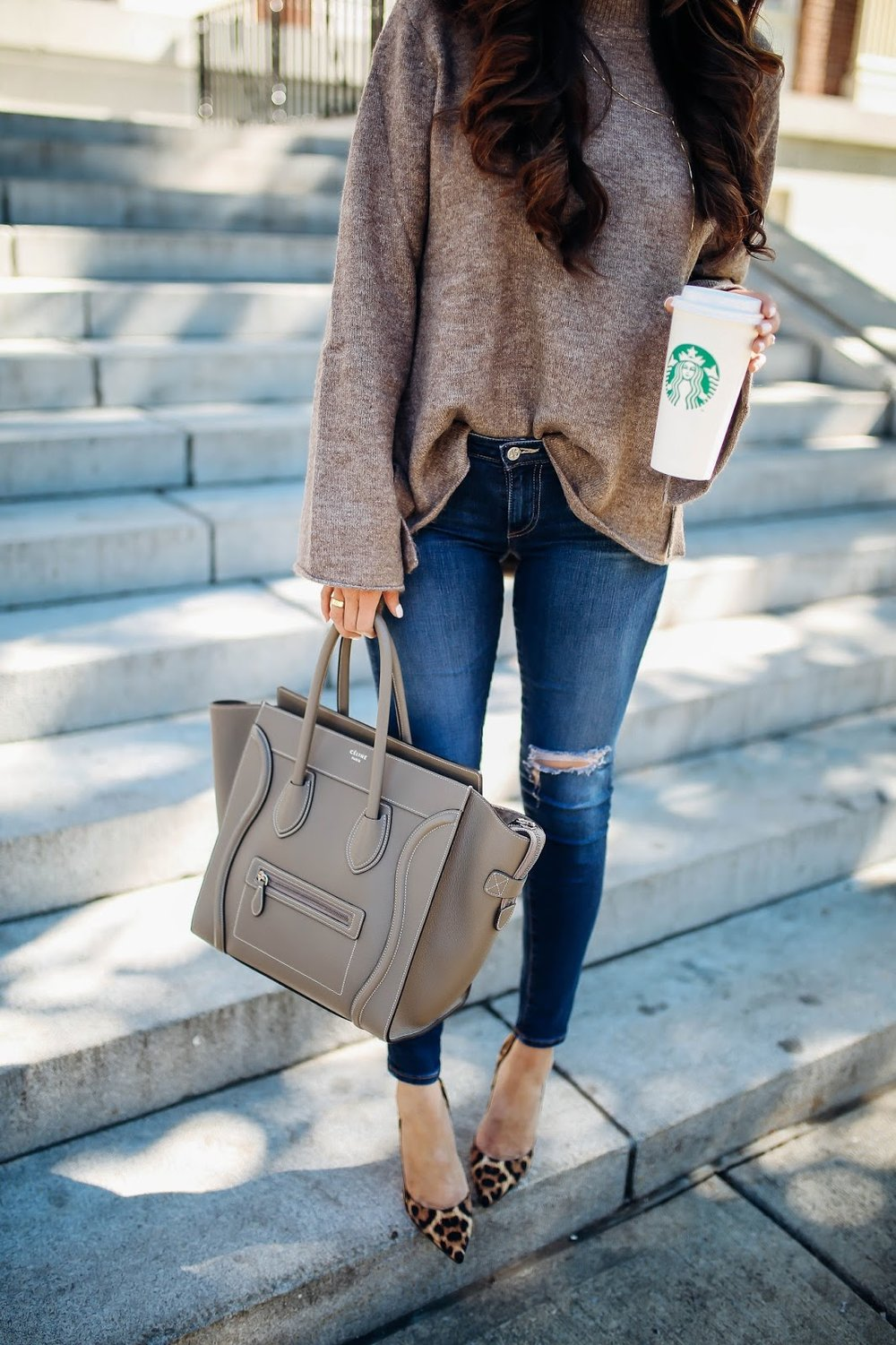 SWEATER: Zara (similar styles   HERE   &   HERE   - I have of those!) | DENIM:   AG Jeans   (  similar under $50 here  ) | PUMPS:   Christian Louboutin   (similar   here   &   here  ) | NECKLACE: H. Audrey (  similar here  ) | SUNGLASSES:   Ray-Ban   | HANDBAG: Celine (  dupe HERE  ) |