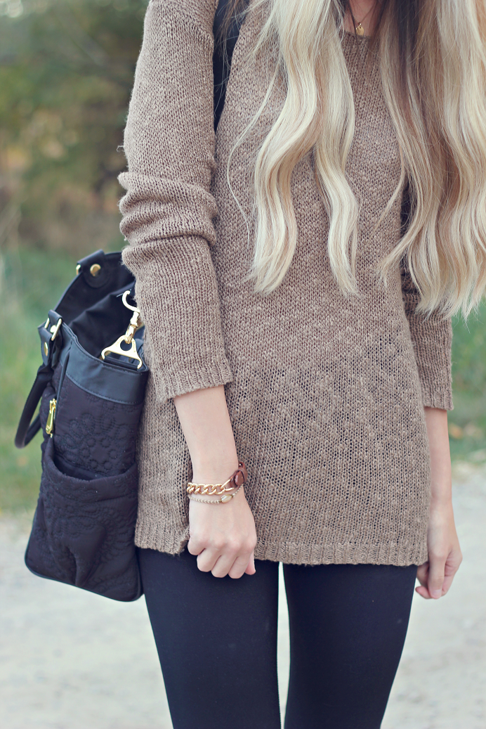 sweater  size medium |  leggings  |  sandals  |  diaper bag  | sunglasses   very similar  | necklace   similar