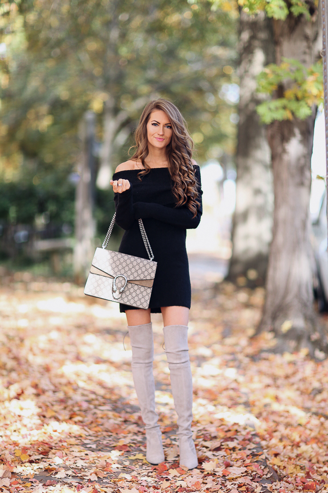 "black off shoulder tunic   (worn as a dress, she is 5'4 for reference),   this dress   is longer   Gucci Dionysus handbag   //   Stuart Weitzman Highland boots  , similar   HERE   &   HERE   David Yurman ring   //   bareMinerals lipstick in ""gumball"""