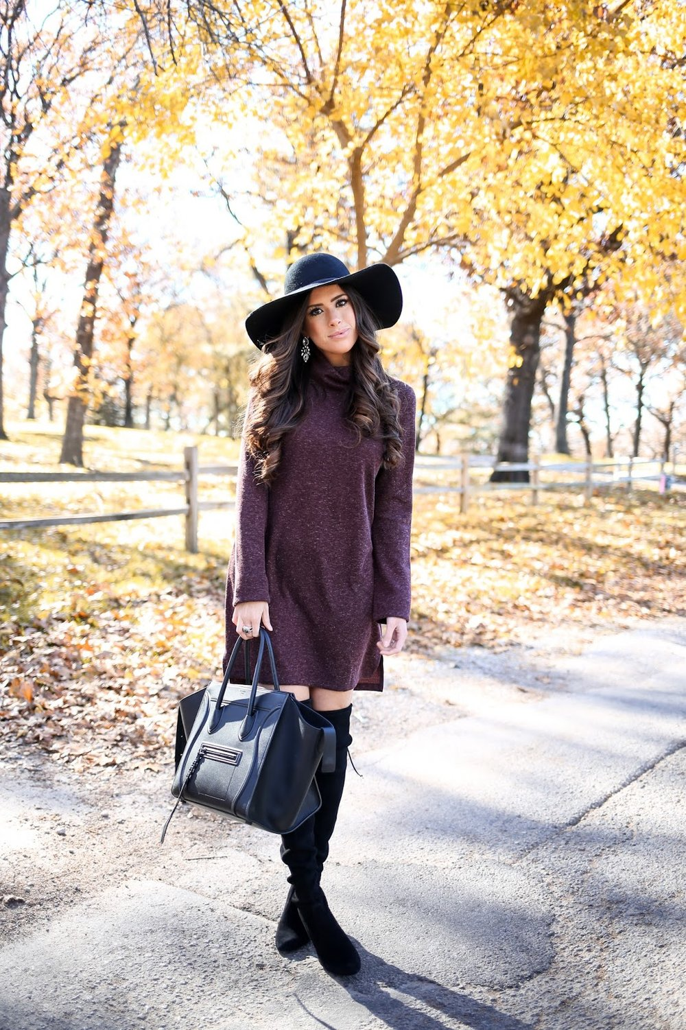 "SWEATER DRESS:   WAYF   (wearing size small in the 'brown') | BOOTS:   Stuart Weitzman   (went up half a size!) (Great dupes for these boots   HERE   &   HERE  ) | BAG: Celine (craving   THIS handbag   & love   this one  !) | HAT:   BP   (I love these floppy hats - this is my 3rd one-  $34 !) | EARRINGS:   BP   ($16!) (I also adore   THESE  .) | RING:   David Yurman   | LIPS: ""  Myth  "" lined w/ ""  Stripdown  "" 