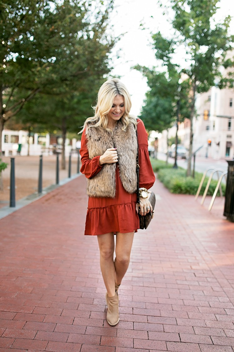 Dress: Shopbop, Revolve [fully stocked!], Here Too [wearing size S] | Booties: Vince [go down a half size!], Similar | Bag: LV, Dupe, Love This as Well! | Faux Fur: Sole Society | Necklace:Anthropologie | Lips: Soar Liner, Brave Lipstick | Watch: Michael Kors | Bracelet: Baublebar | Nail Polish: OPI Just Beclaus