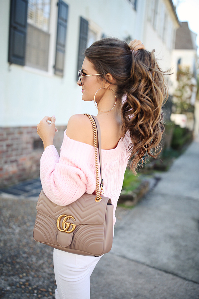 baby pink off-the-shoulder sweater  //  white pants    Steve Madden sandals  //  Gucci Marmont handbag   Celine sunglasses, similar  HERE  // Forever 21 earrings, similar  HERE    David Yurman ring  //