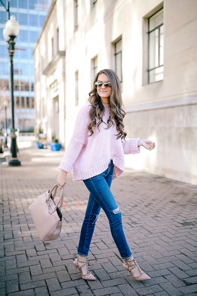 "pink sweater , similar  HERE  //  AG jeans  // Celine sunglasses, similar  HERE    Sole Society Layton satchel  c/o //  Sole Society Tiia pumps  c/o //  Sole Society hoop earrings  c/o   Michele watch  //  David Yurman bracelet    MAC lipstick in ""pink nouveau"""
