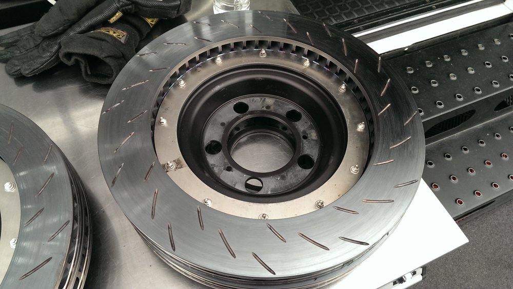 PRE-BEDDED BRAKE DISCS READY TO BE USED BY AN IMSA GT-D TEAM FOR THE DAYTONA 24 HOUR RACE.  PHOTO CREDIT: GANESH KRISHNAN
