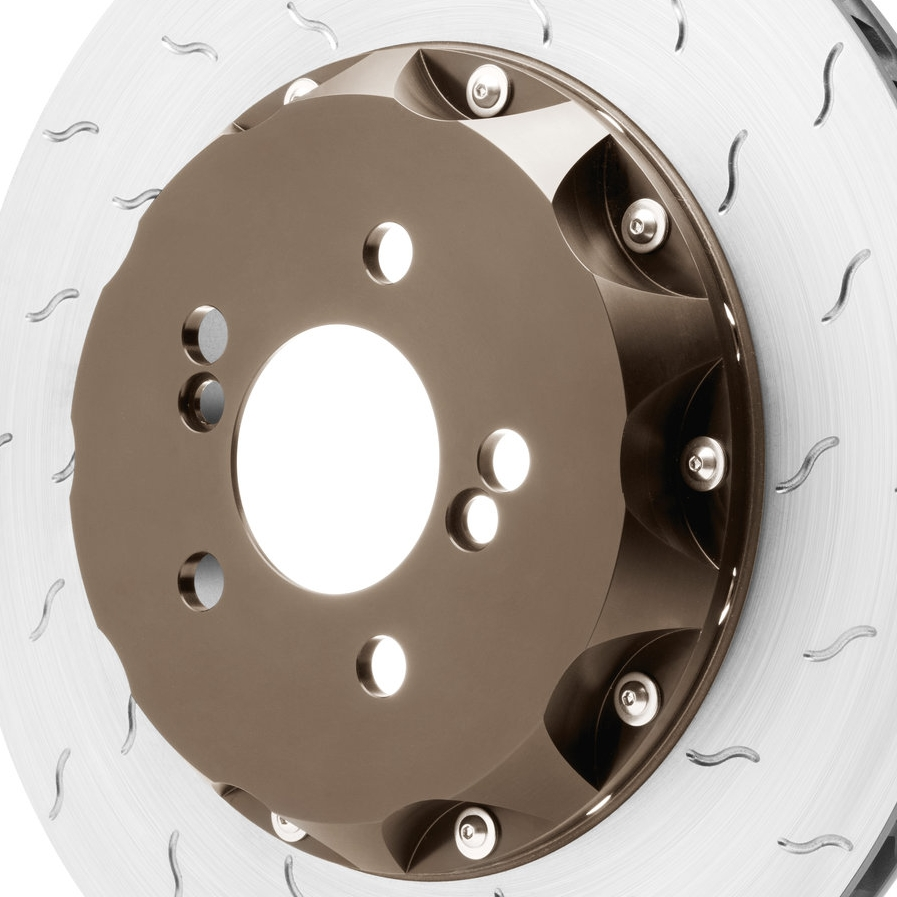 WEIGHT REDUCTION - Disc assemblies include a cast iron Alcon disc ring with lightweight T6061 aluminum bells which assist in reducing un-sprung weight. Reducing un-sprung weight will improve a vehicle's dynamics, braking and handling.