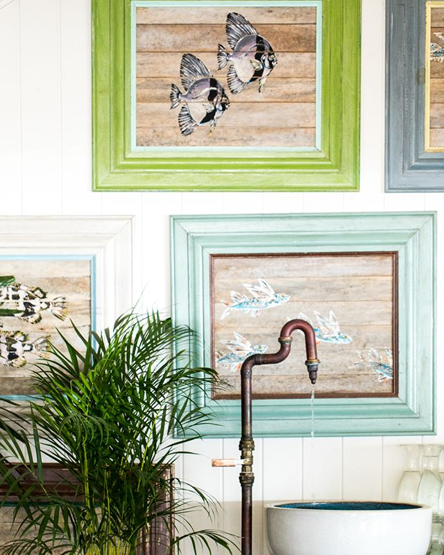 Fish paintings on the wall, at Shelly Beach | #theboathousegroup #theboathousehome #sydneyinteriors