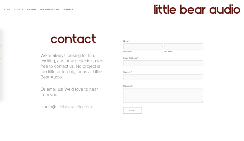 Client's Contact Page with real time submission form, and collected data