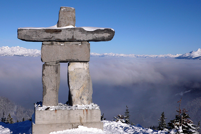An Inukshuk is a monument made of unworked stones that are used by the Inuit for communication and survival