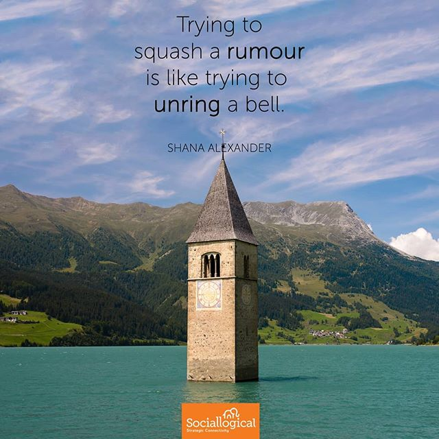 """Trying to squash a rumour is like trying to unring a bell."" - Shana Alexander  Reputations matter. If a rumour gets started, are there enough stories about your brand that might render it hard to believe it worth learning more about?  #asharething #socialmedia #reputation #business #learnsocial #smm #social #brand #brands #training  Photo by freemanphoto on flickr"