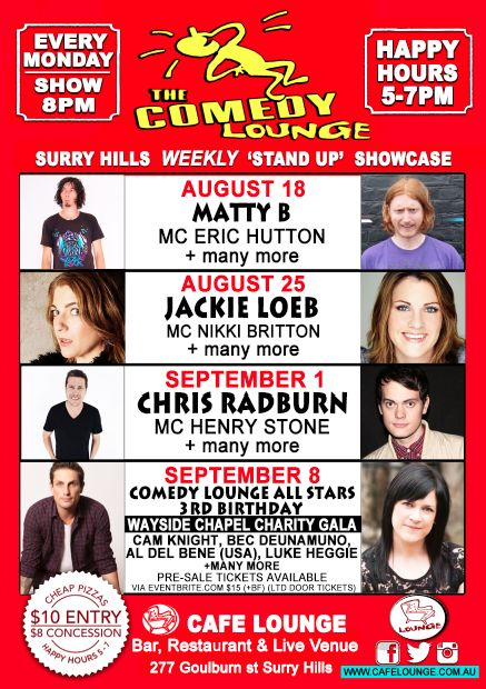 Comedy Lounge August and gala