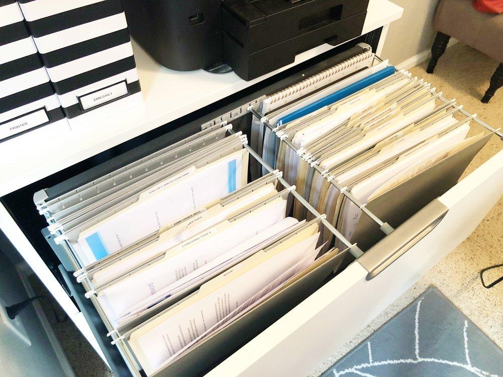 Gray hanging file folders:  similar here