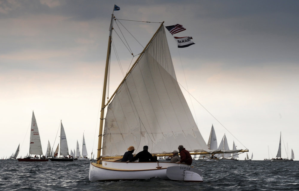 "The catboat ""Sarah"" at the Figawi, Cape Cod, Mass."
