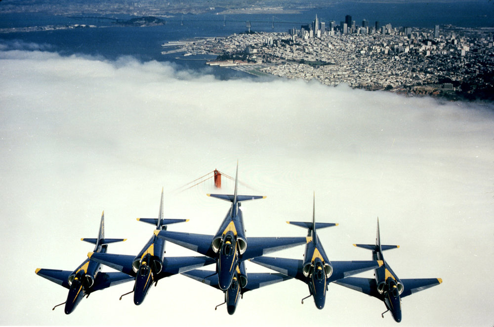 Blue Angels over the Golden Gate Bridge - San Francisco