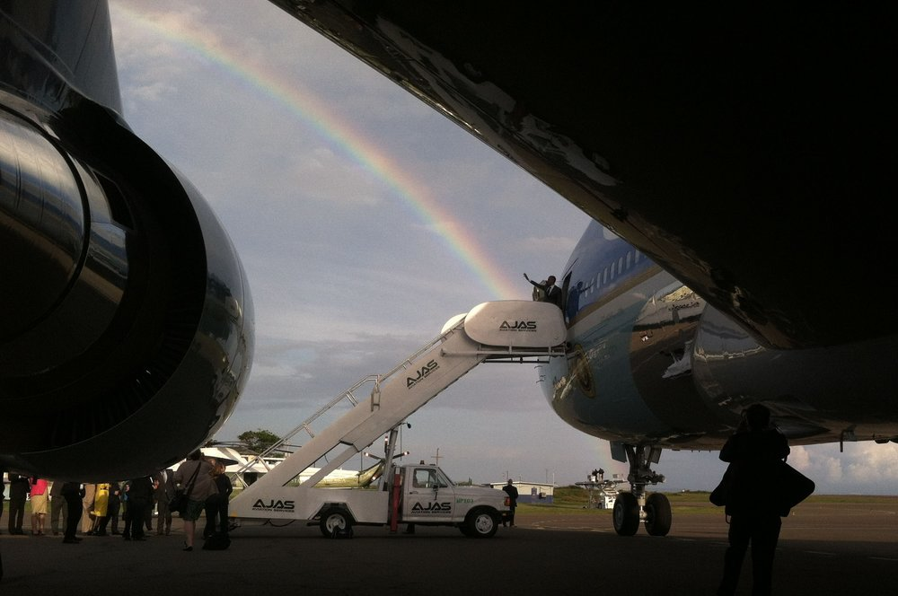 President Barack Obama boards Air Force One, Jamica