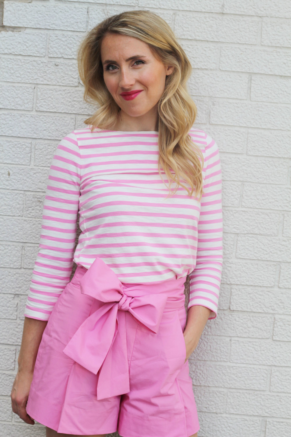 Pink bow shorts and striped top