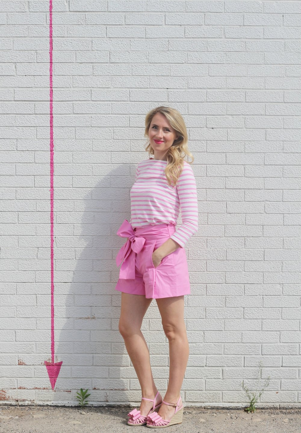 Pink Striped Shirt and Bow Shorts