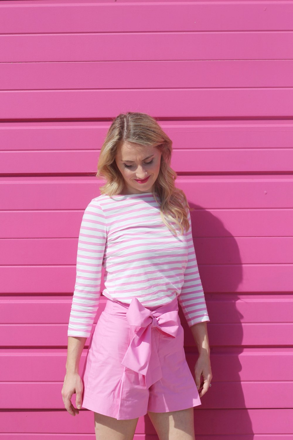 Pink Stripes and Pink Bow Shorts
