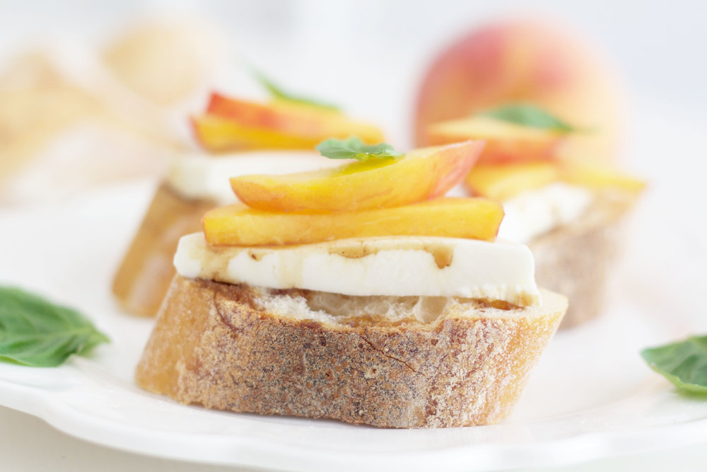 Peach and Basil Bruschetta So Dressed Up