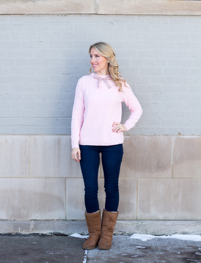 So Dressed Up Pink JCrew Bow Sweater (3 of 18).jpg