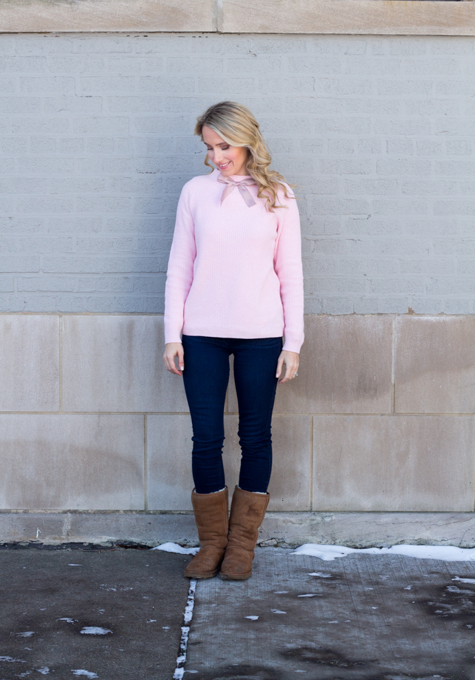 So Dressed Up Pink JCrew Bow Sweater (4 of 18).jpg