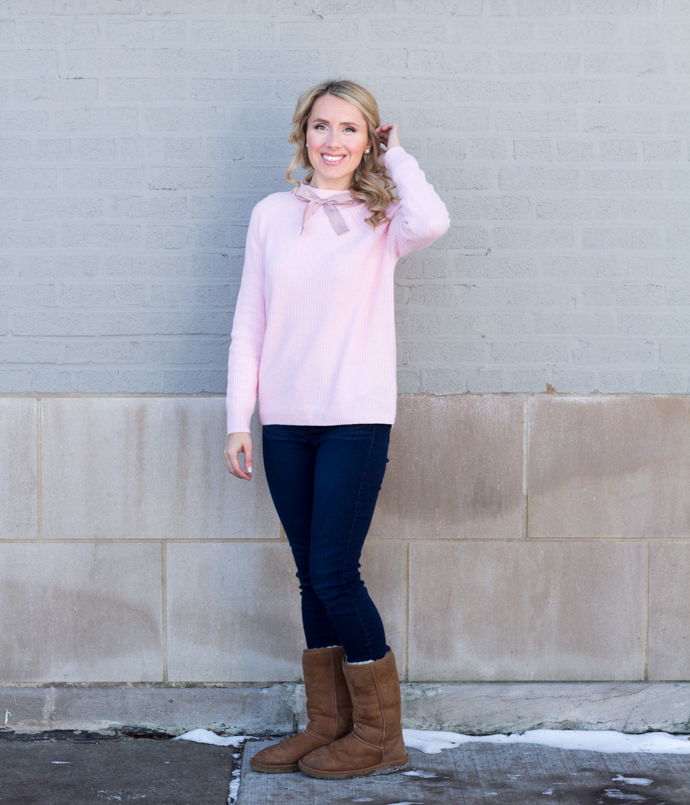 So Dressed Up Pink JCrew Bow Sweater (6 of 18).jpg