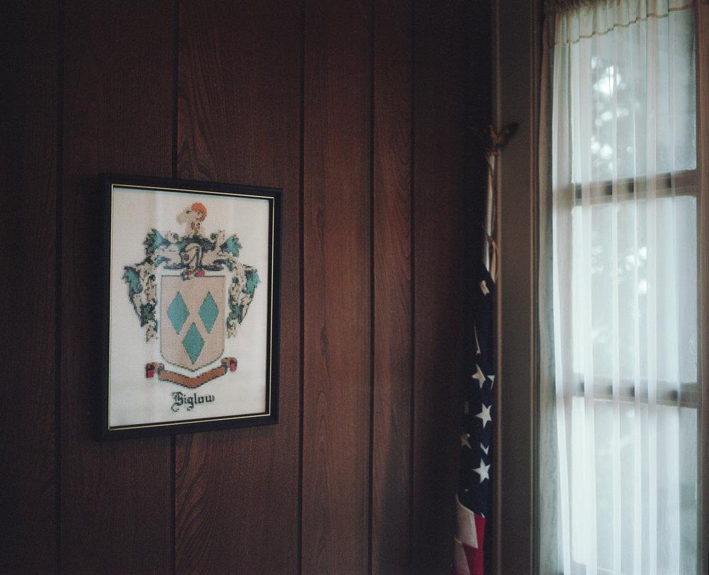 Biglow family crest at Hazel's front door