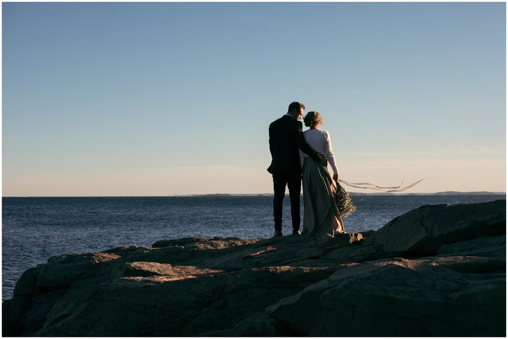 Sunset elopement in Massachusetts