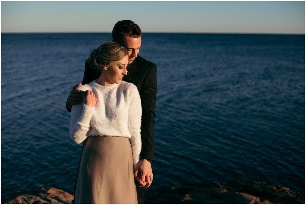 Winter seaside elopement
