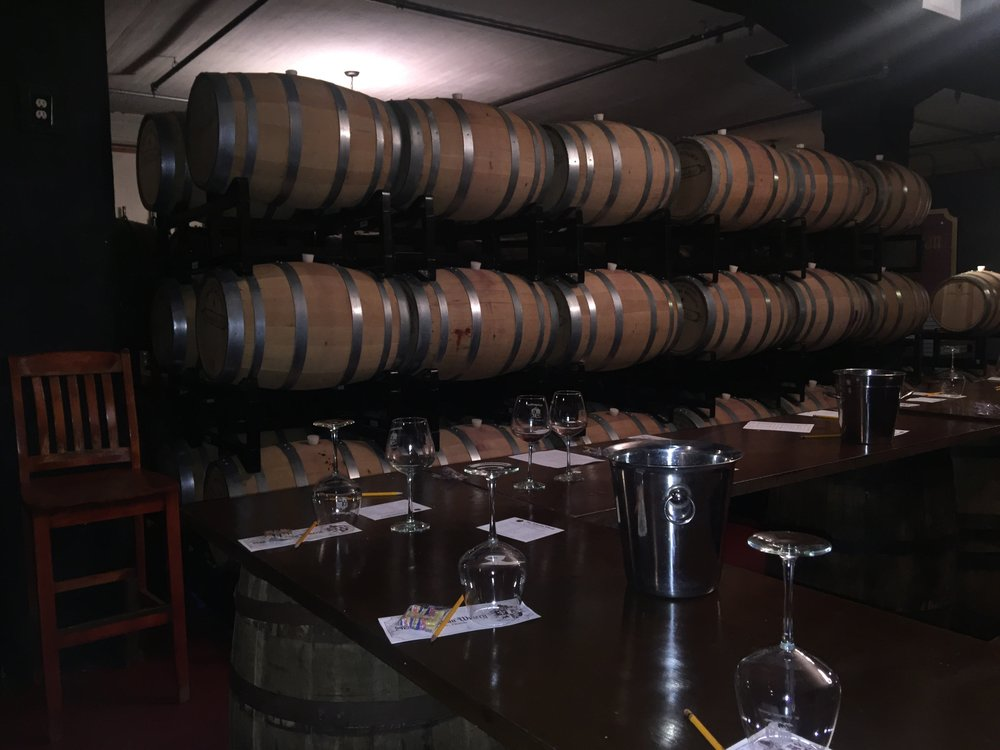 The aftermath in the tasting room of the San Sebastian Winery
