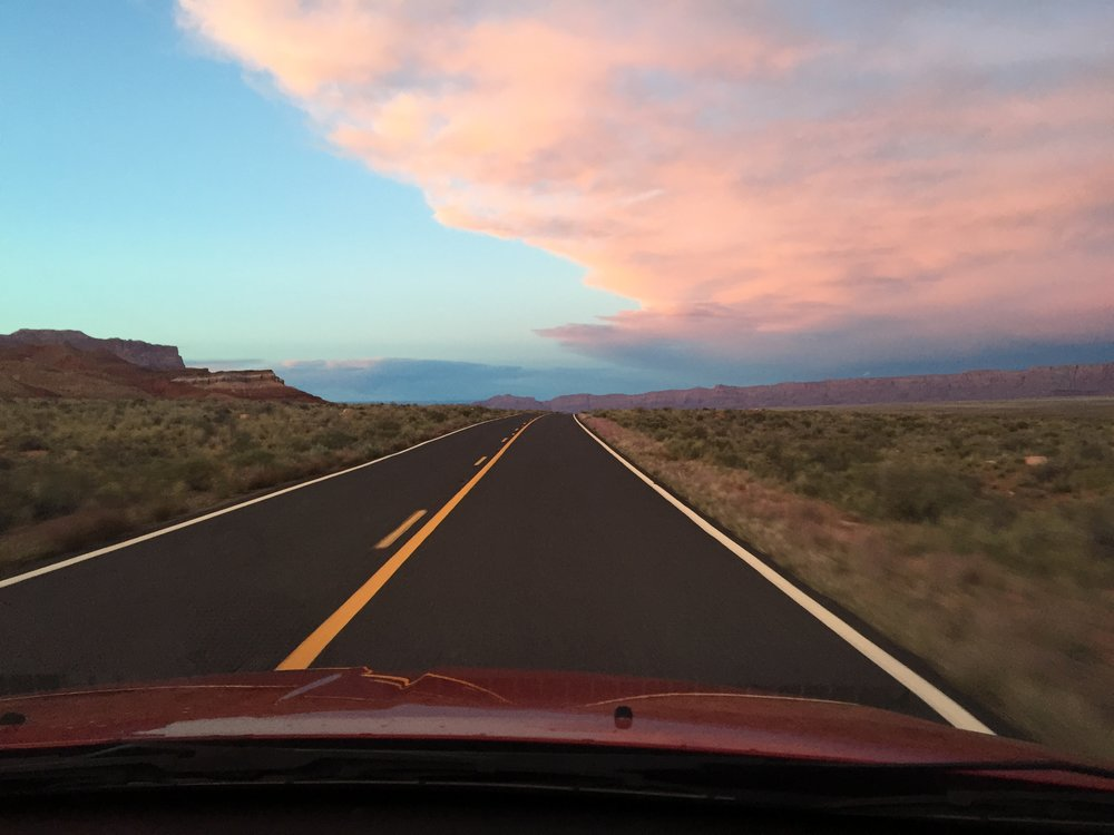 The open road drive from Kanab, Arizona to Page, Arizona.