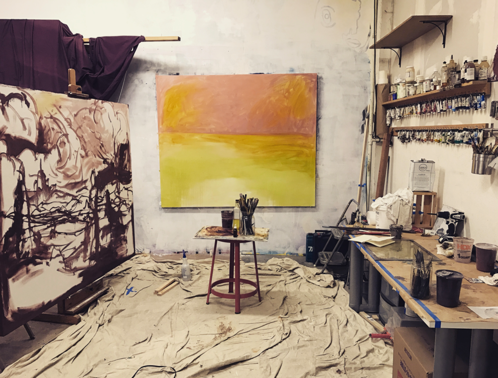 Studio with new paintings, 2017.