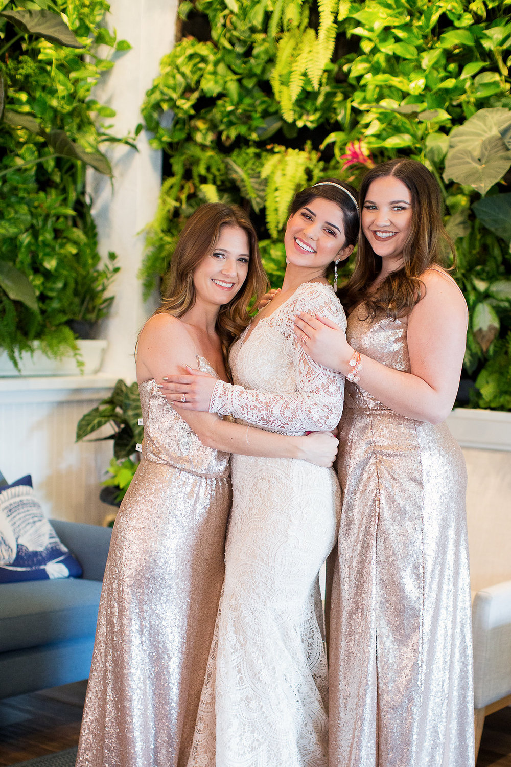 The beautiful Bride and her Bridesmaids! Jaime, Camila, and Ashley