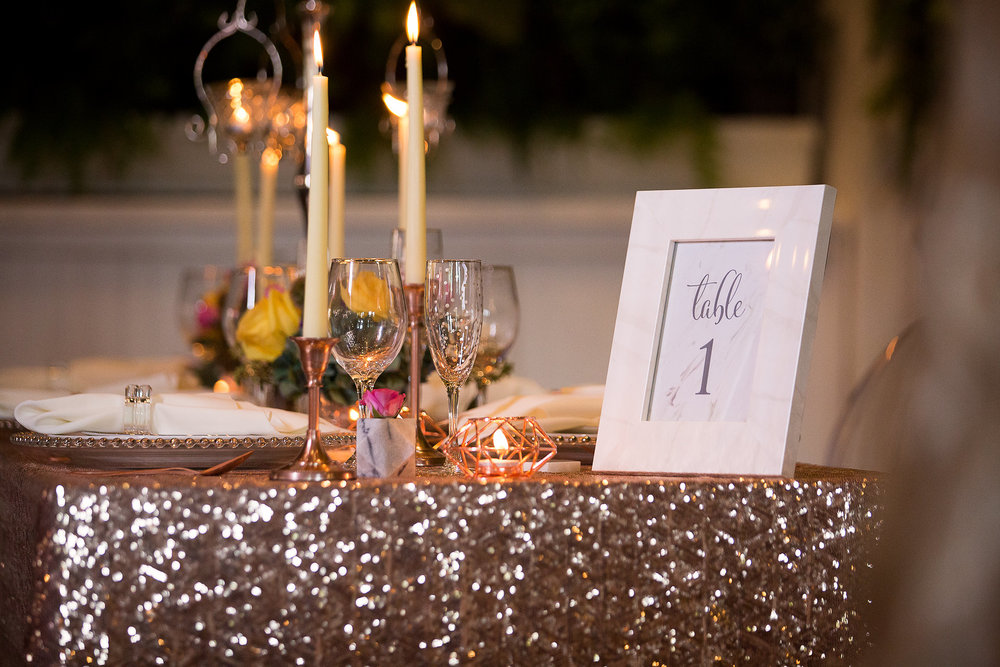 Palm Beach Wedding Bowery Palm Beach Rose Gold Tablescape
