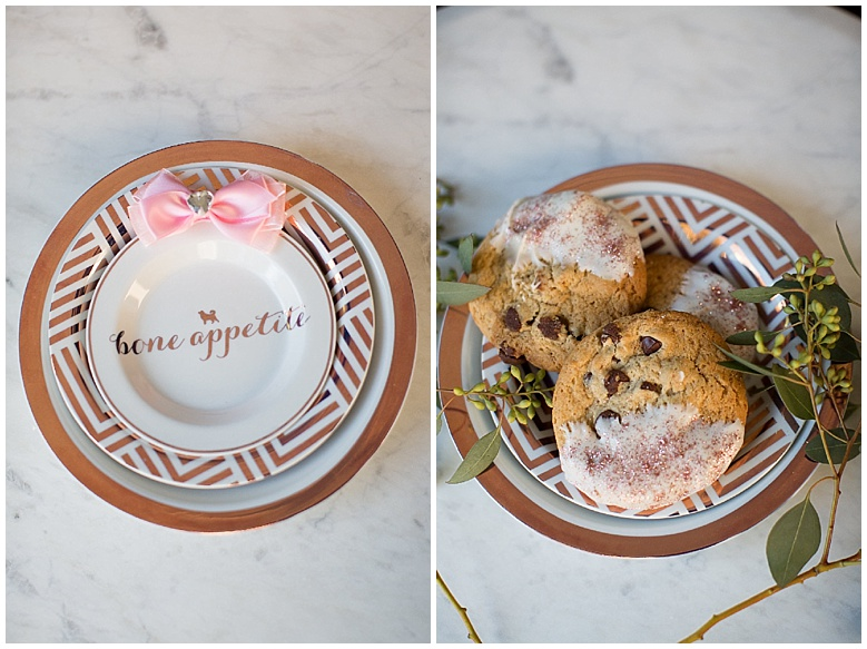A few more details! The plate/bowl for our wedding pup, as well as some chocolate chip cookies dipped in white chocolate and covered with (edible) rose gold glitter. So much fun!