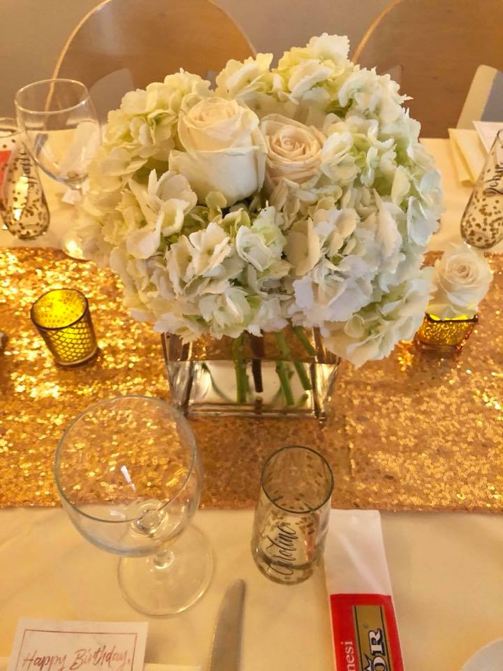 Modern Rose Gold Marble Birthday Party Flowers White Hydrangea Flower Arrangement
