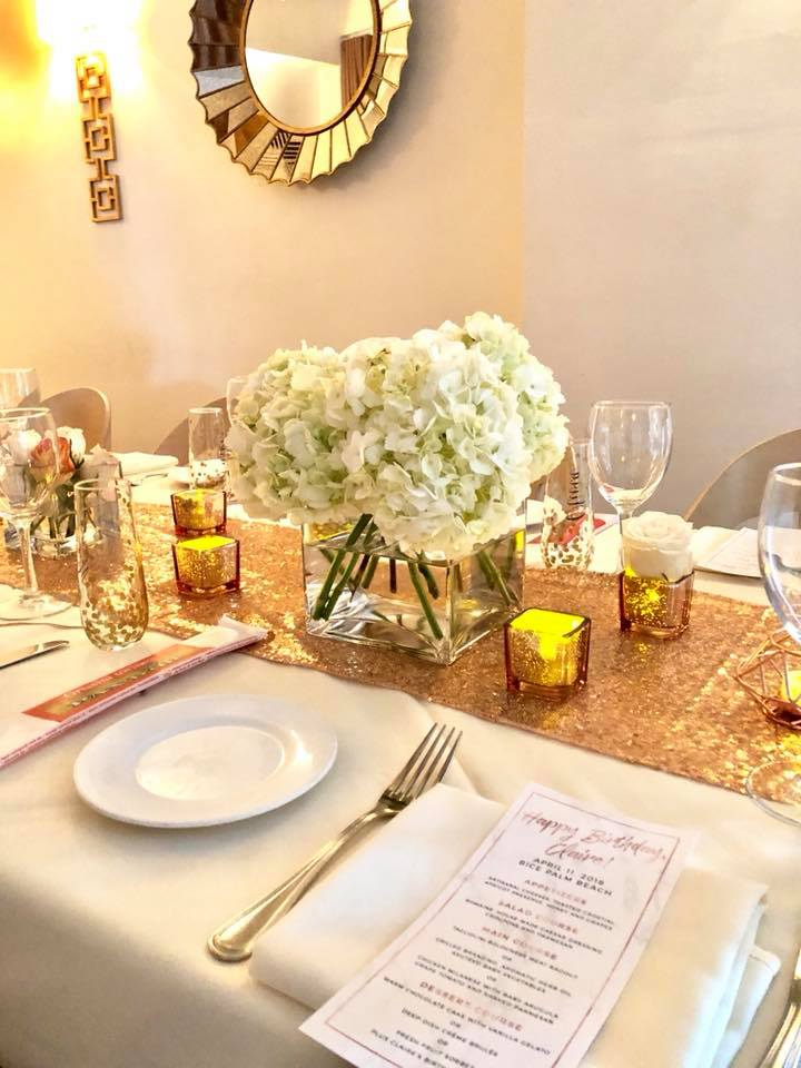 Modern Rose Gold Marble Birthday Party Flowers White Hydrangea Flower Arrangement Tablescape