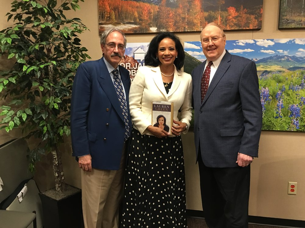 Ted Nikolis, me, and Dr. James Dobson after a radio interview on family talk radio in Colorado Springs, CO