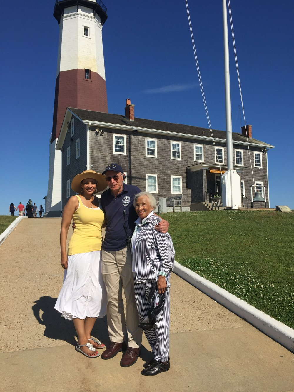 Me, my mom and Montauk Lighthouse historian Henry Osmers, who's interviewed for book Lighthouse Faith.