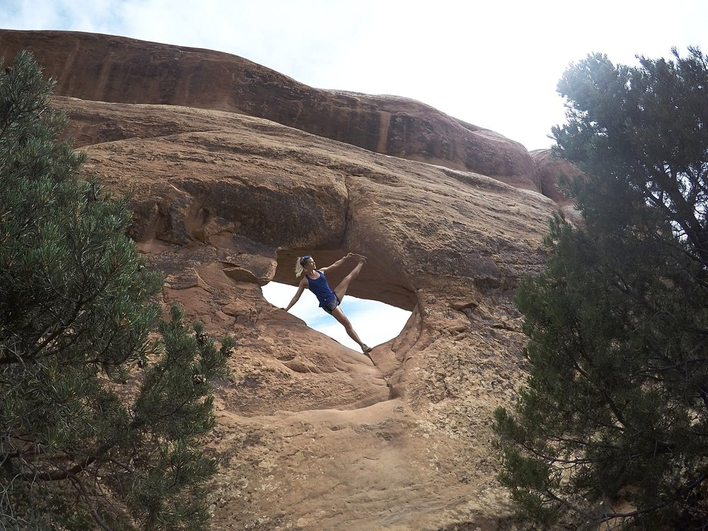 A little yoga on the rocks in Moab, Utah