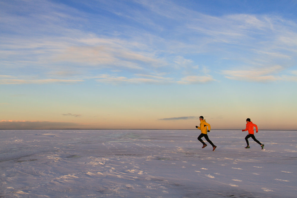Matt and Emily setting off on their first attempt to run across Cold Lake and back on 15 January 2017. Read about it here: http://www.teamsetlack.com/epic-runs-1/2017/1/15/trans-cold-lake-run